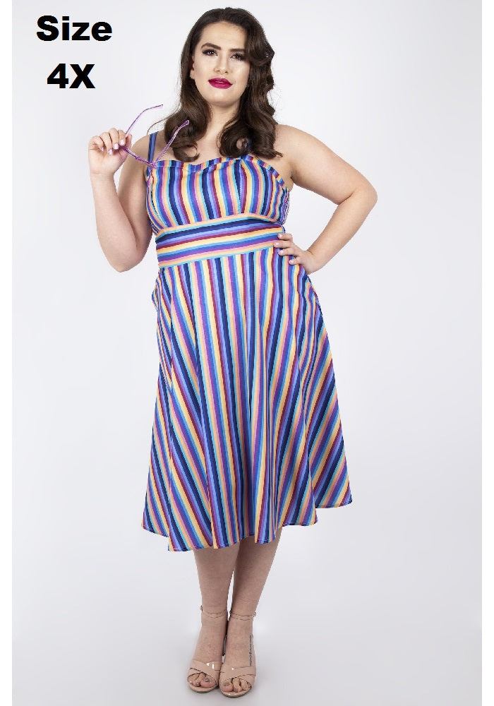 """Final Sale"" Retro Rainbow Stripe Dress"