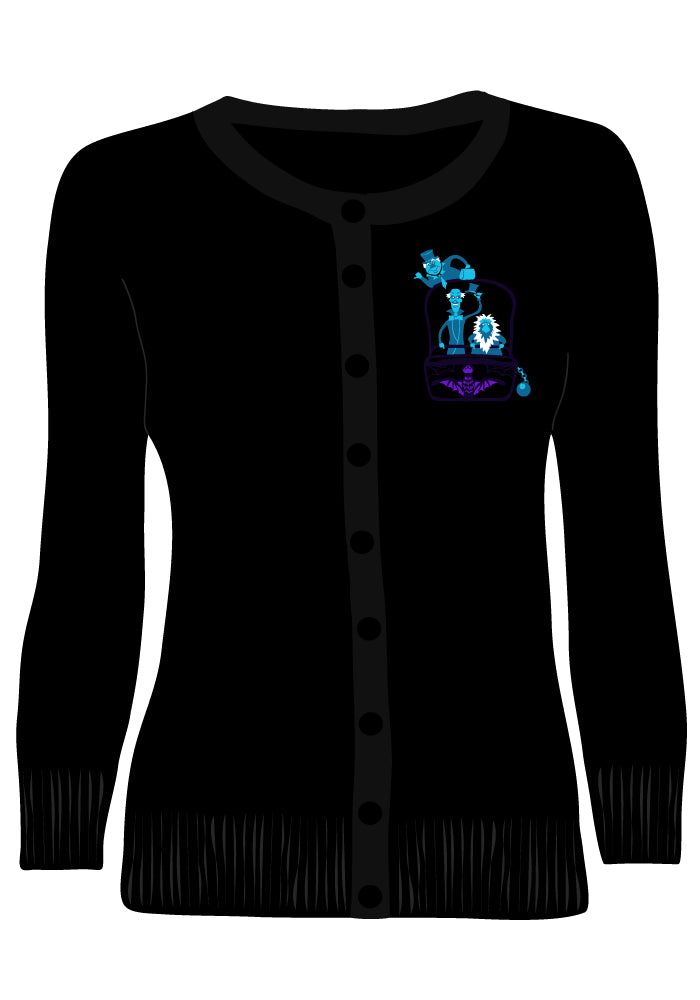 (Pre-Order) Haunted Hitchhikers Embroidered Cardigan in Black
