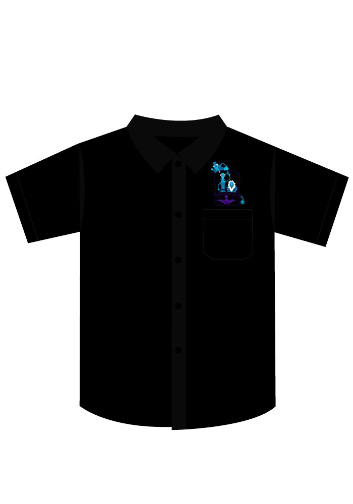 Haunted Hitchhikers Men's Button-Up Shirt in Black