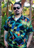 Neon Parrots Authentic Hawaiian Shirt, Black