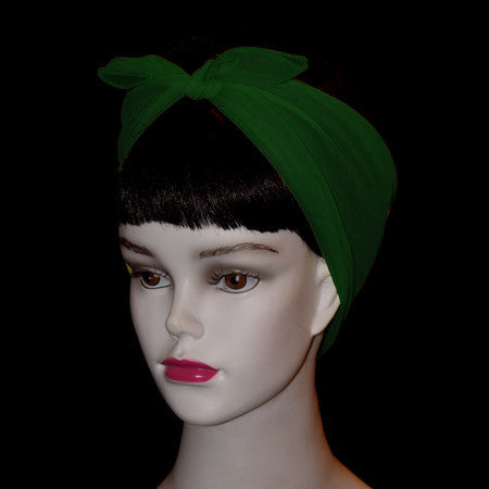 50's Style Retro Neck & Hair Scarf -Hunter Green