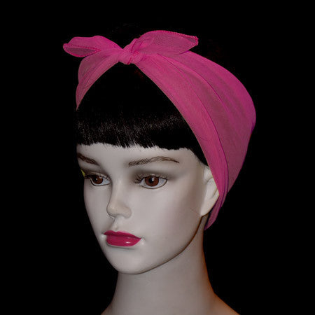50's Style Retro Neck & Hair Scarf - Hot Pink