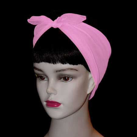 50's Style Retro Neck & Hair Scarf - Baby Pink