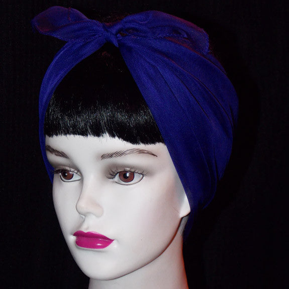 50's Style Retro Neck & Hair Scarf - Royal Blue