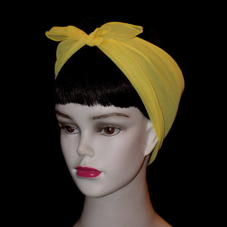 50's Style Retro Neck & Hair Scarf - Yellow