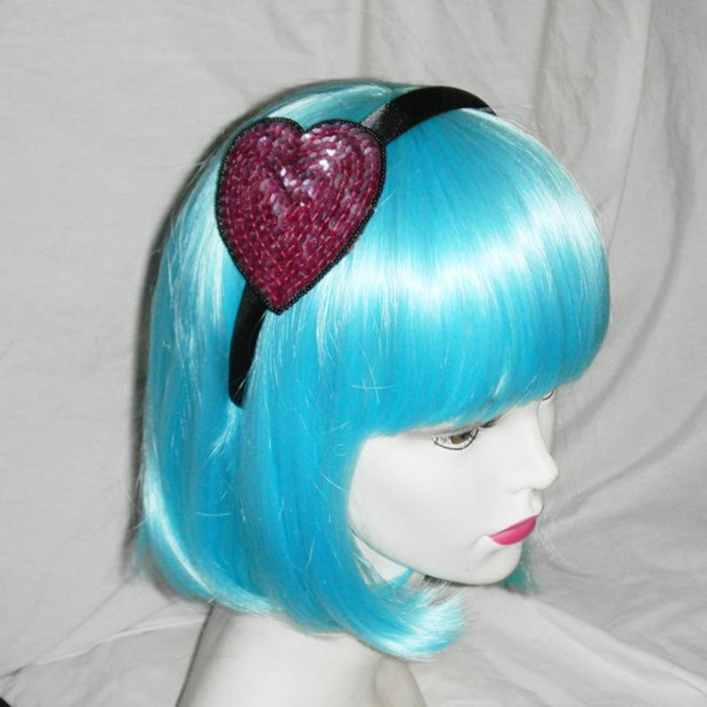 Pink & Black Sparkling Sequin Valentine's Day Heart Headband Fascinator