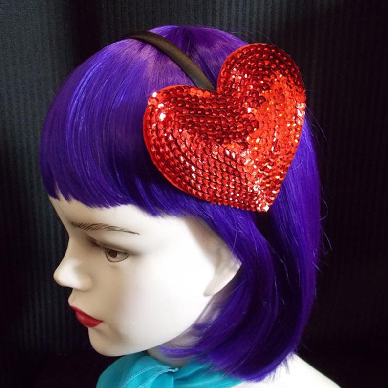 Large Red Sparkling Sequin Valentines Day Heart Headband Fascinator