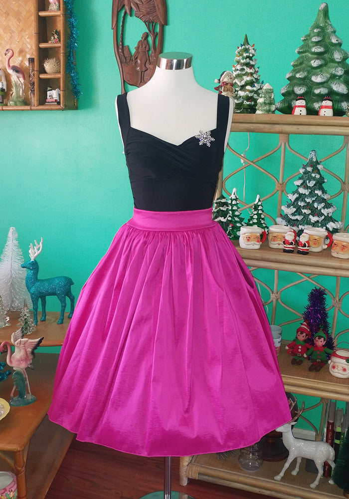 """Final Sale"" Taffeta Holiday Gathered Liz Skirt in Hot Pink"