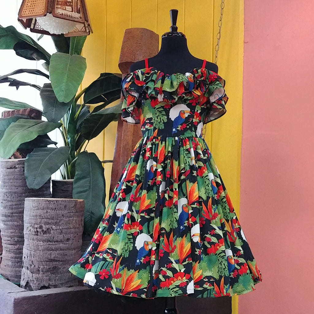 Tropical Toucan Cha Cha Ruffle Dress