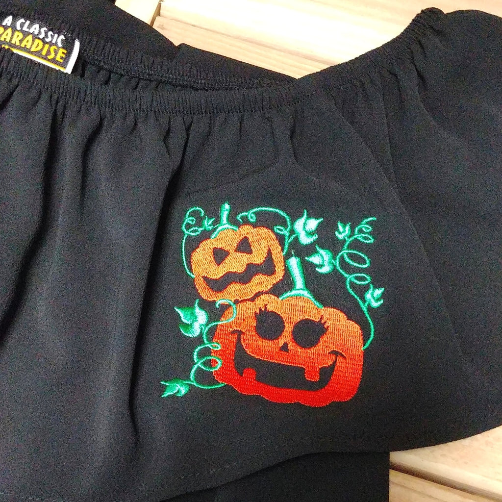 Retro Halloween Pumpkin Patch Embroidered Flounce Top in Black