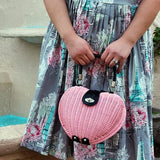 Wicker Heart Handbag, in Pink