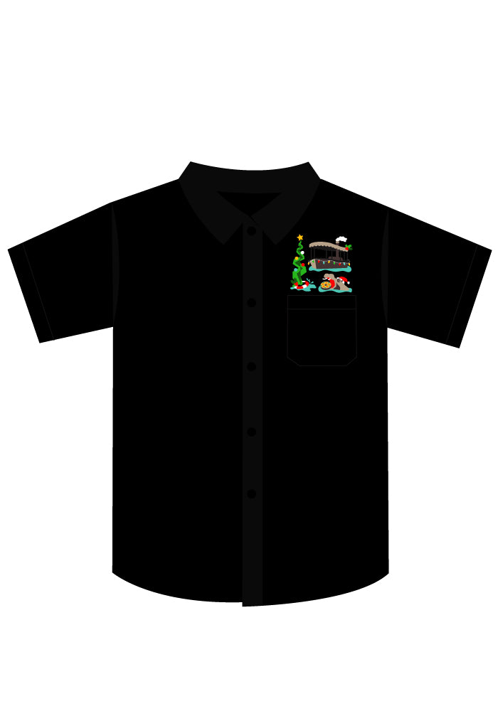 Slim Fit Jingle Cruise Holiday Embroidered Button-Up Safari Shirt in Black