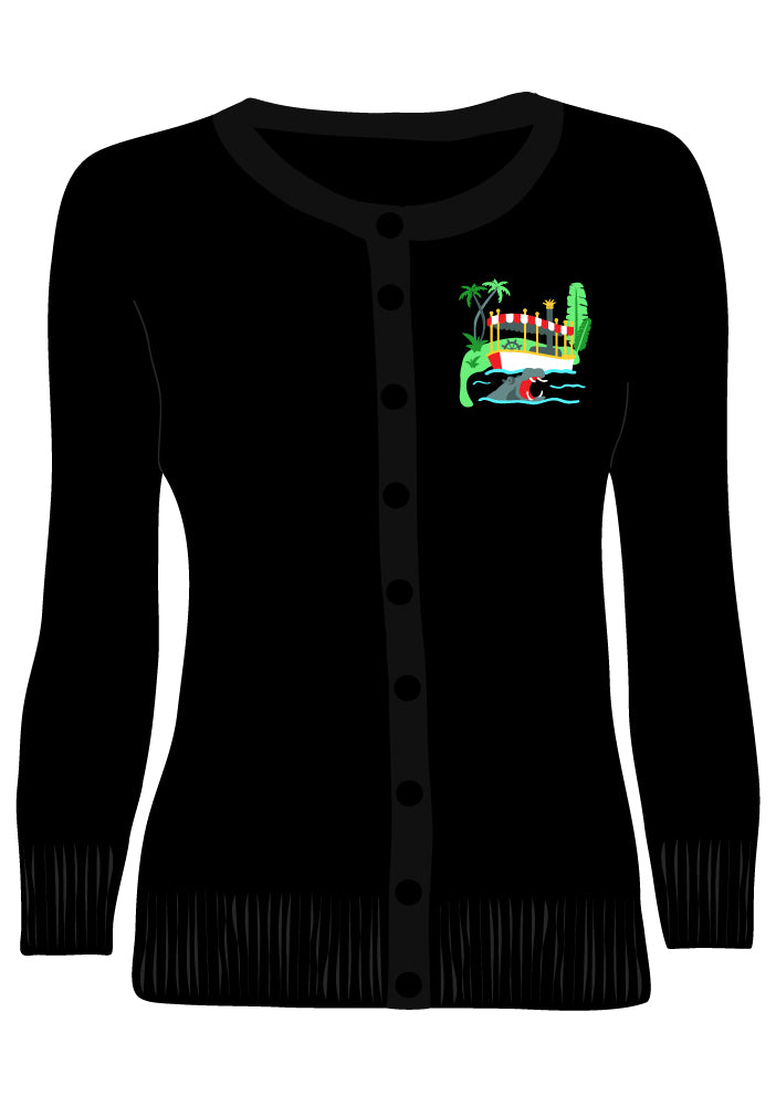 Adventure Cruise Embroidered Cardigan in Black