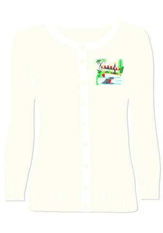 Haunted Hitchhikers Embroidered Pullover Sweater in Teal