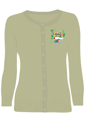 Adventure Embroidered Pullover Sweater in Green