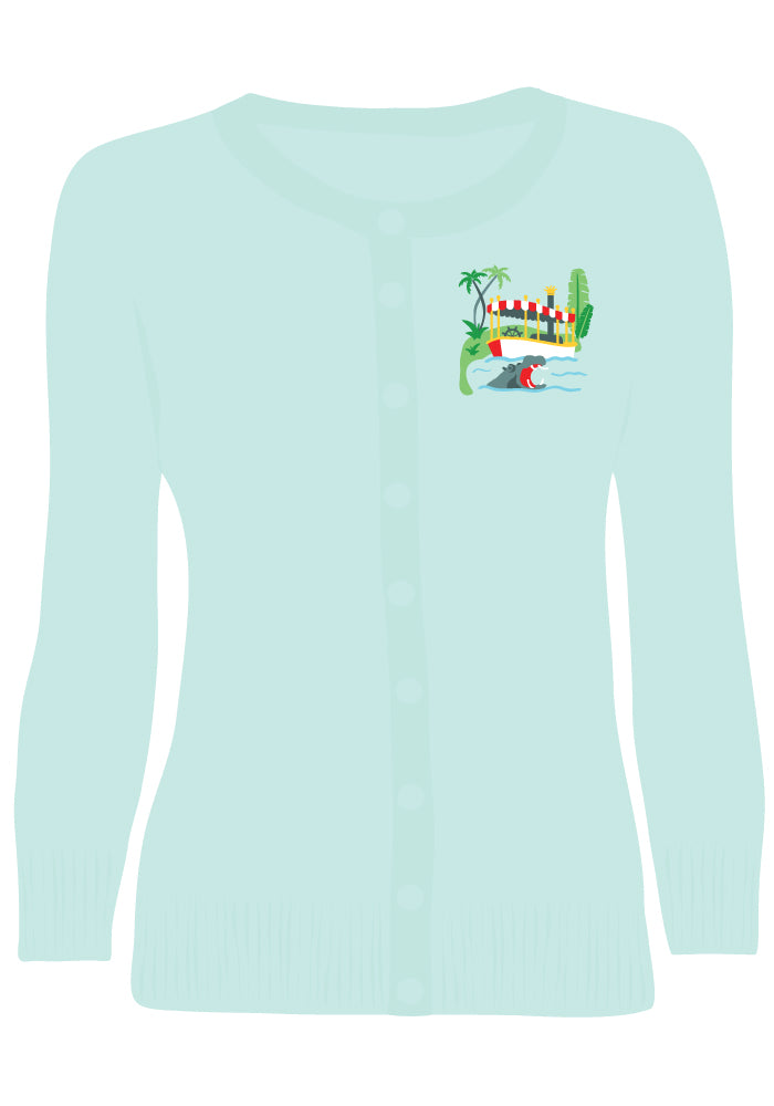 Adventure Cruise Embroidered Cardigan in Sky Blue