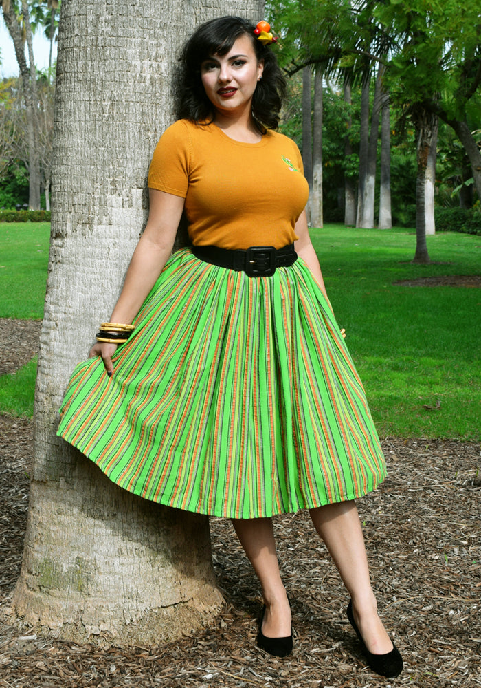 """Final Sale"" Serape Striped Deluxe Beverly Gathered Skirt in Lime Green"