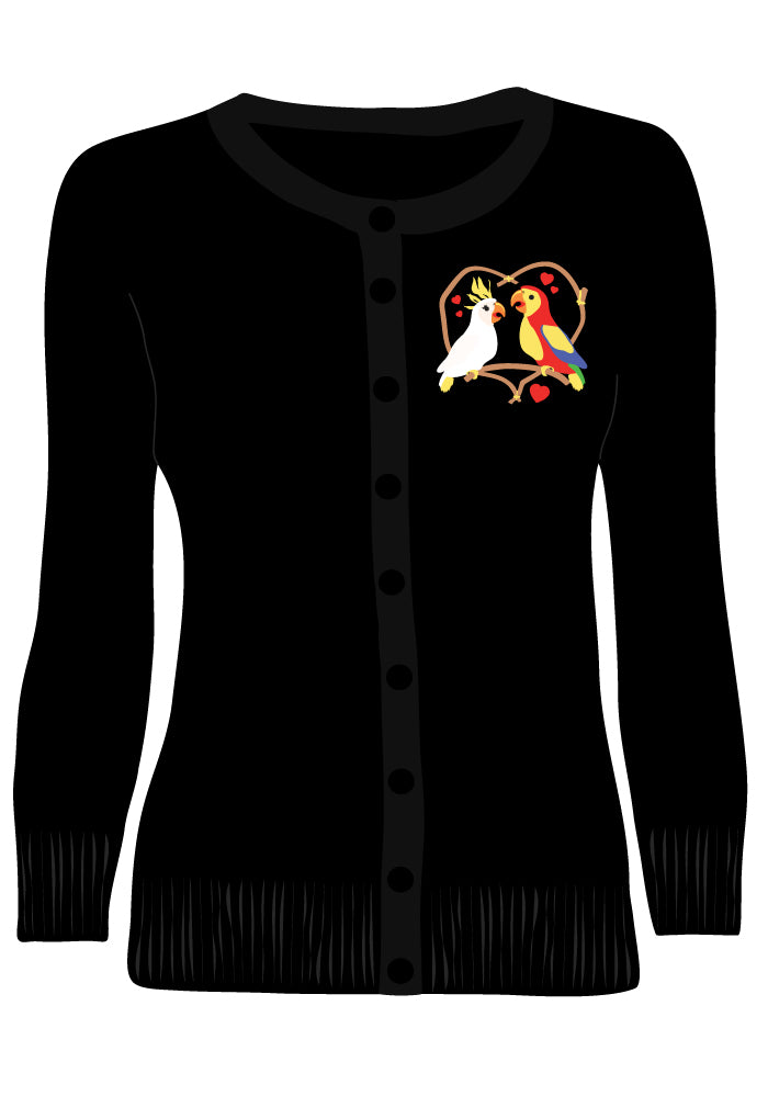 Tiki Room Love Birds Embroidered Cardigan in Black