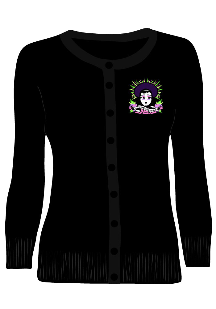 """Strange & Unusual"" Lydia Embroidered Cardigan in Black"