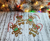 Set of 4 Disney Inspired Gingerbread Mickey & Minnir Mouse 3D Christmas Ornament Gift Tags