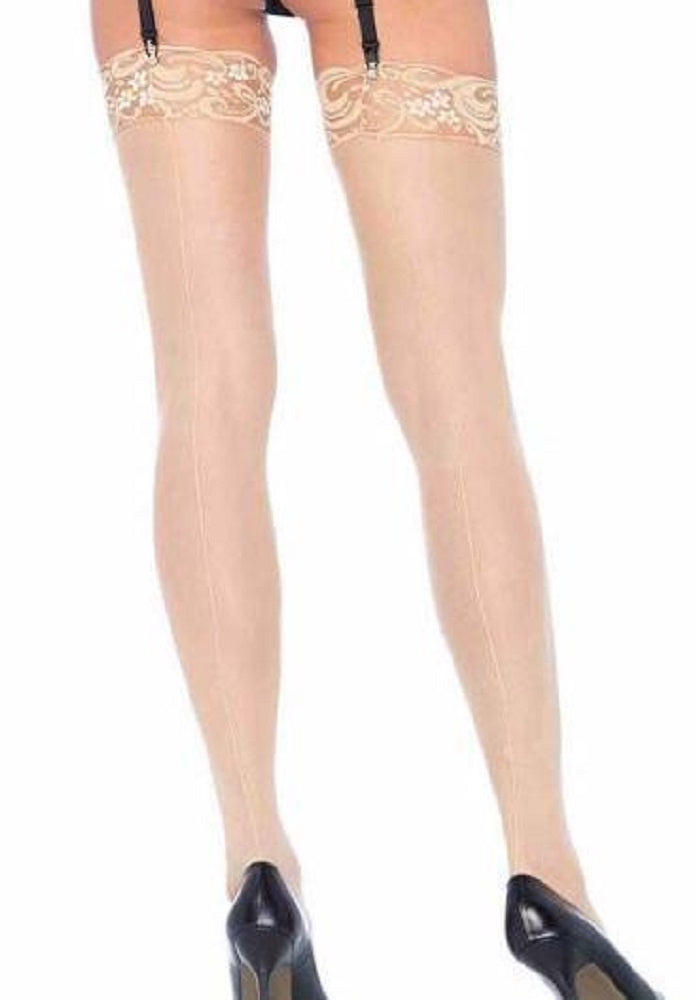 """Final Sale"" Leg Avenue Plus Size Lace Top Thigh High Stockings W/ Backseam"