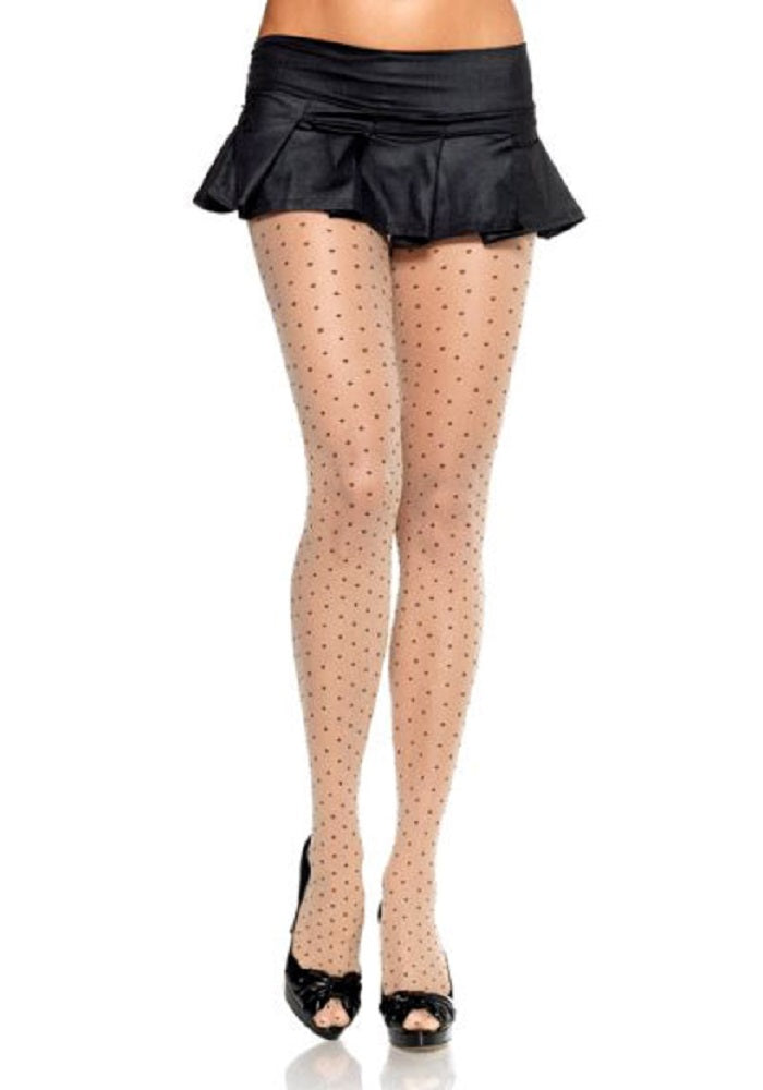 """Final Sale"" Leg Avenue Nude Sheer Polka Dot Pantyhose"