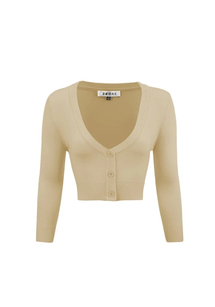 """Final Sale"" Clementine Cropped Cardigan, Taupe"