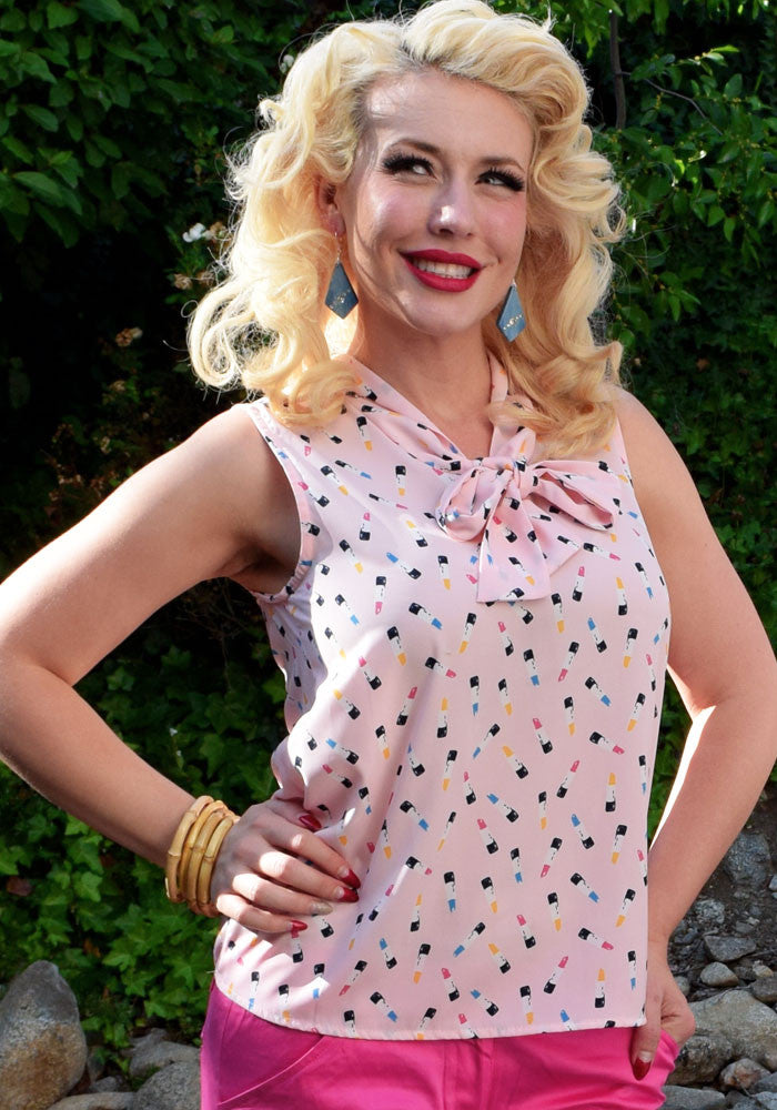 """Final Sale"" Darling Lipstick 40's Blouse"