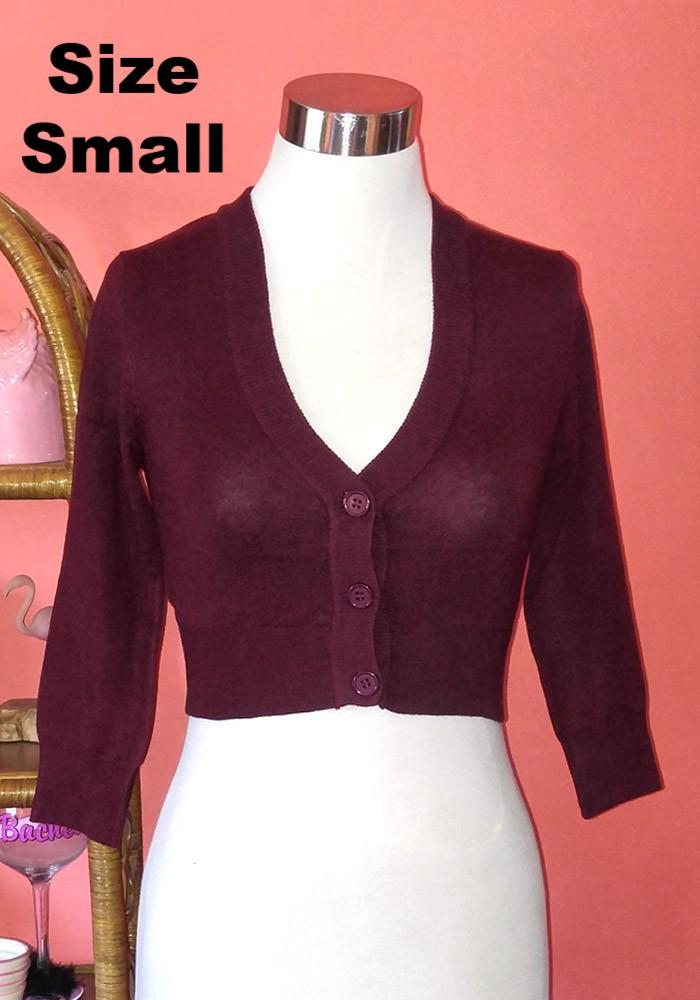 """Final Sale"" Clementine Cropped Cardigan, Burgundy"