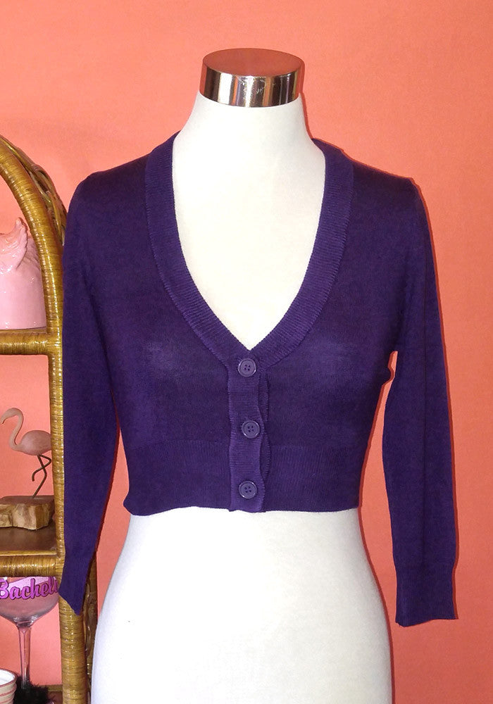 Clementine Cropped Cardigan, Grape