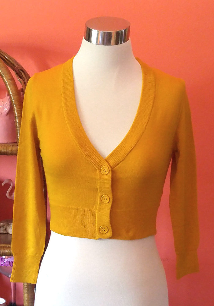 Clementine Cropped Cardigan, Honey Mustard