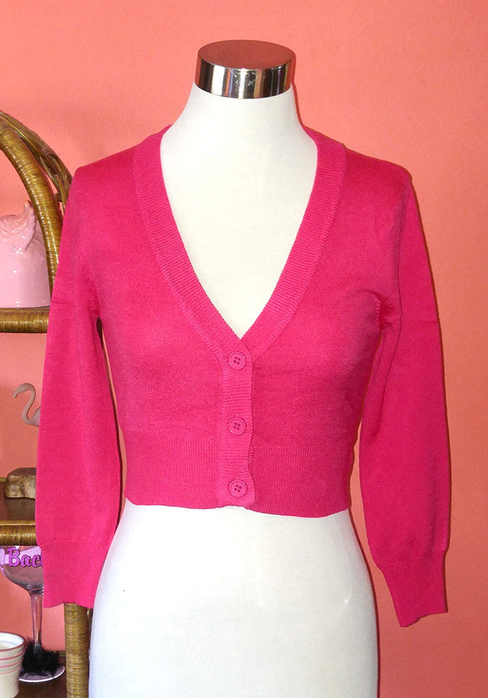 Clementine Cropped Cardigan, Rose Pink