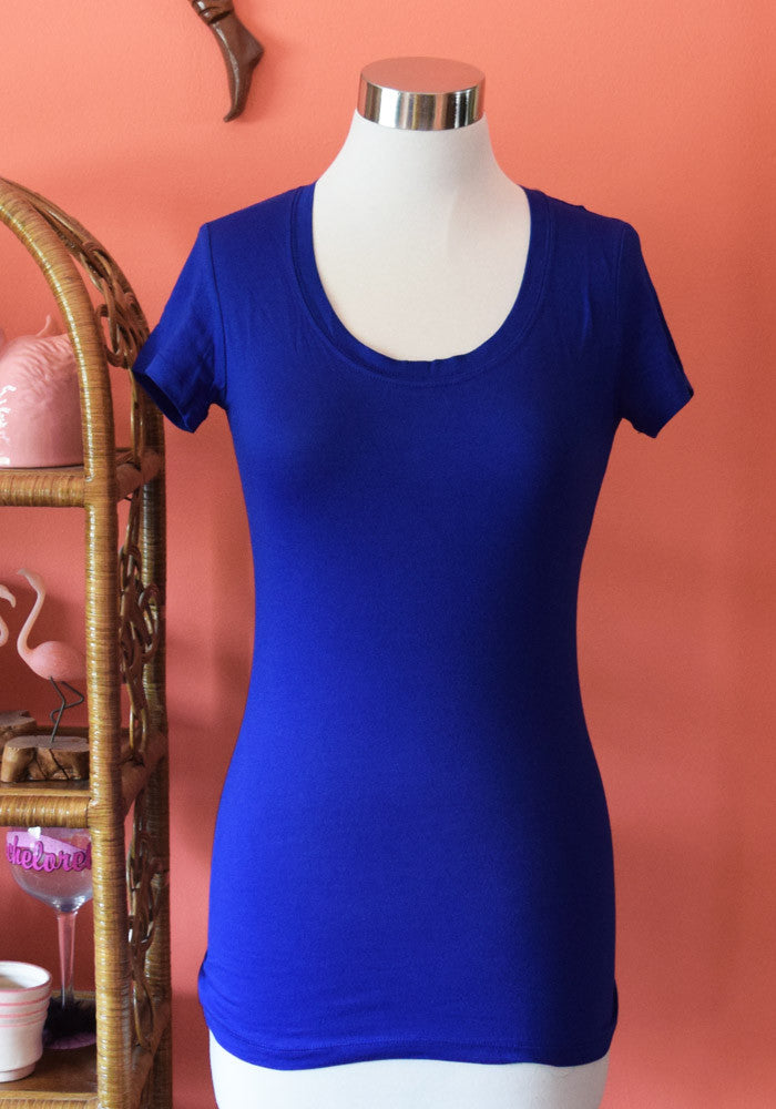 Marty Scoop Neck Classic Tee, in Royal Blue