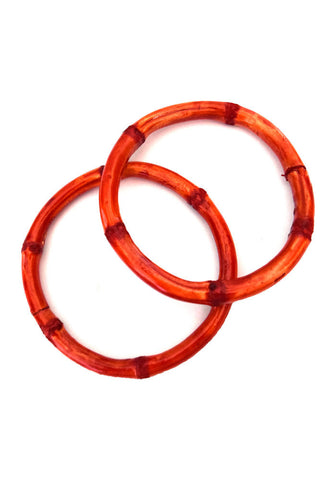 Bamboo Bracelets - Orange (Pair of 2)