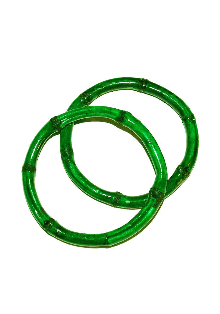 Bamboo Tiki Bracelets - Lime Green (Pair of 2)