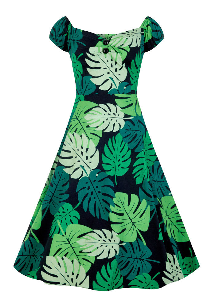 Dolores Tahiti Palm Tiki Peasant Dress