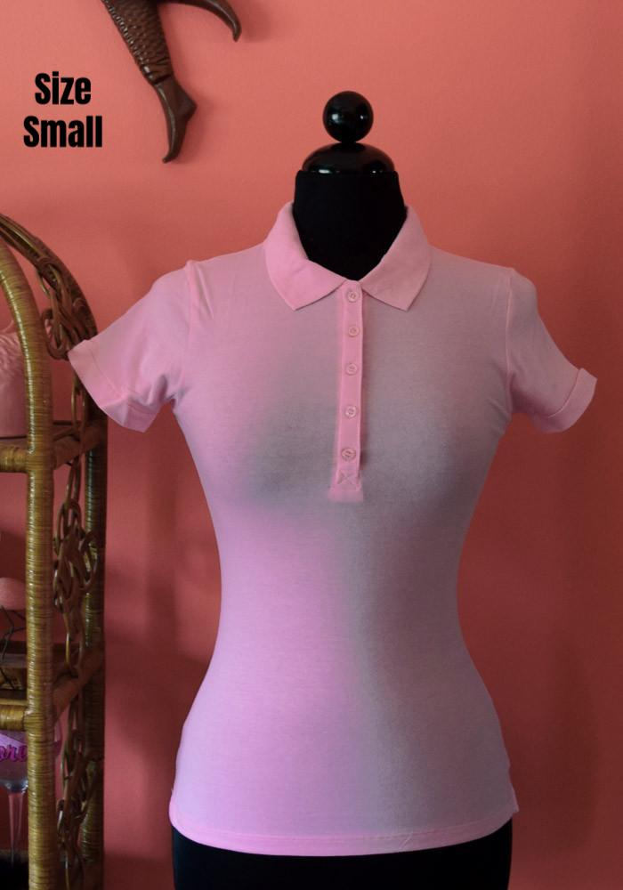 Perfect Pin Up Polo Top, Baby Pink