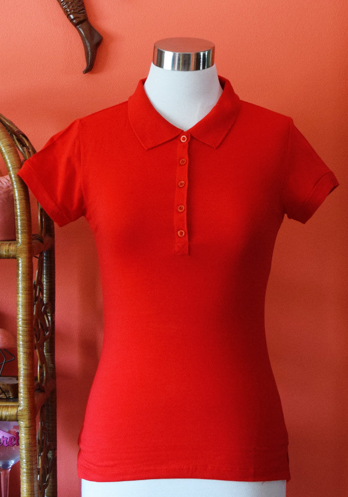 """Final Sale"" Perfect Pin Up Polo Top, Red"