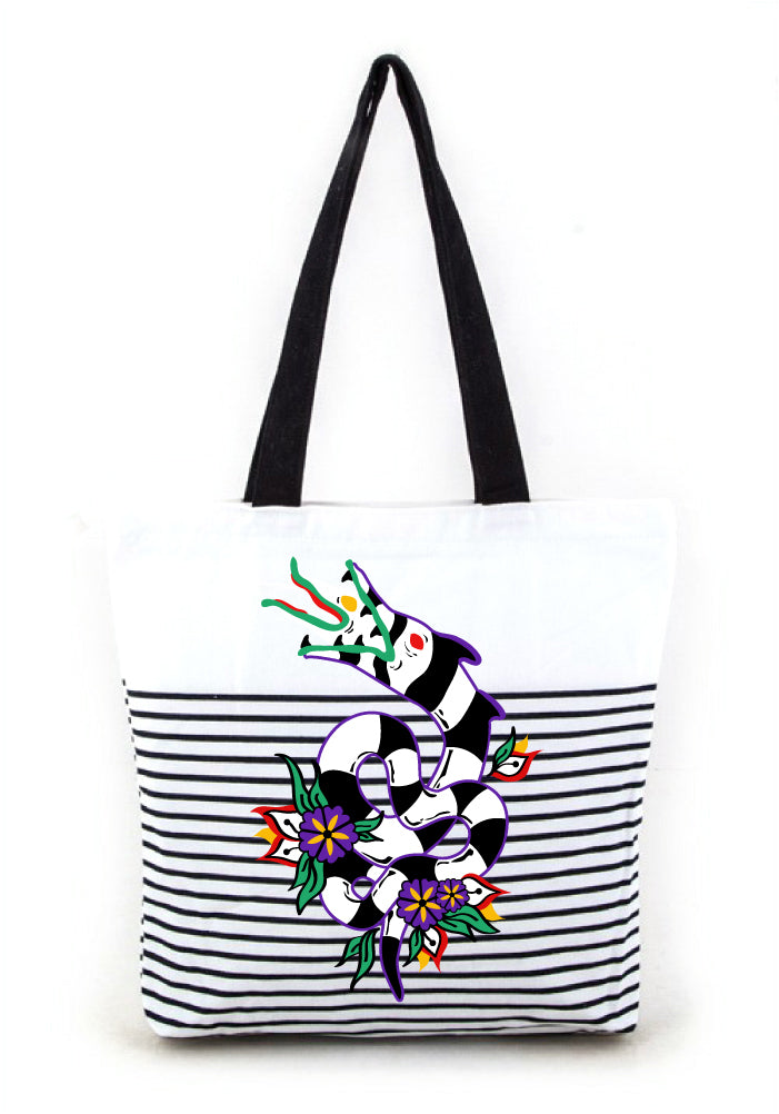 (Pre-Order) Slithering Sandworm Graphic Striped Tote Bag designed by Tony Ray Holiday