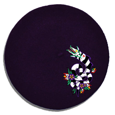 (Pre-Order) Slithering Sandworm Embroidered Beret in Black