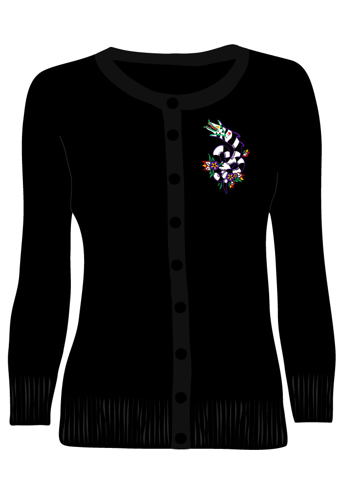 Slithering Sandworm Embroidered Cardigan in Black