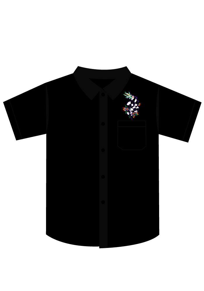 Slithering Sandworm Embroidered Men's Button-Up Shirt in Black