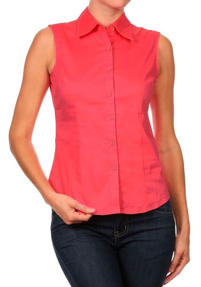 Solid Sleeveless Americana Top in Flamingo Pink