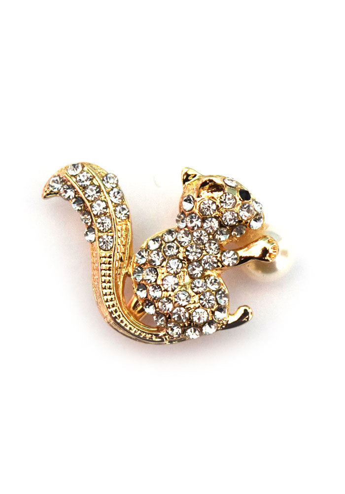 Mini Rhinestone Squirrel and Pearl Brooch