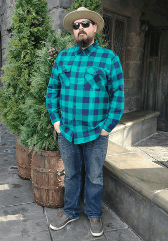 """Final Sale"" Men's Plaid Flannel Shirt in Royal Blue"