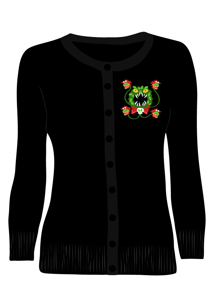 Merry Scary Christmas Wreath Embroidered Cardigan in Black