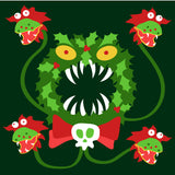 Merry Scary Christmas Wreath Embroidered Cardigan in Hunter Green