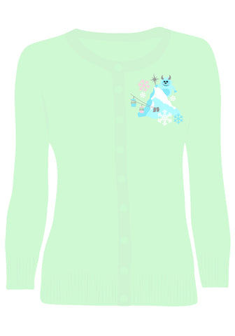 """Get Yeti for Winter"" Embroidered Holiday Pullover Sweater in Turquoise"