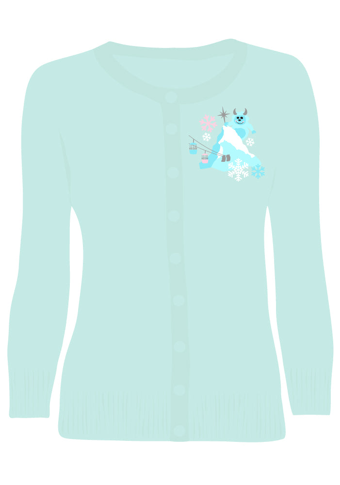 """Get Yeti for Winter"" Embroidered Holiday Cardigan in Sky Blue"