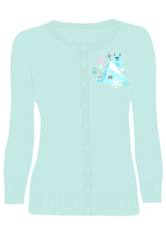 """Get Yeti for Winter"" Embroidered Holiday Cardigan in Mint"